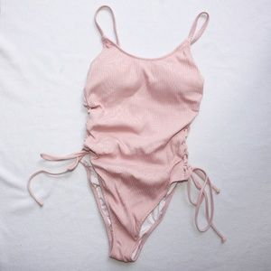Victoria's Secret PINK Ribbed Lace-up One-piece